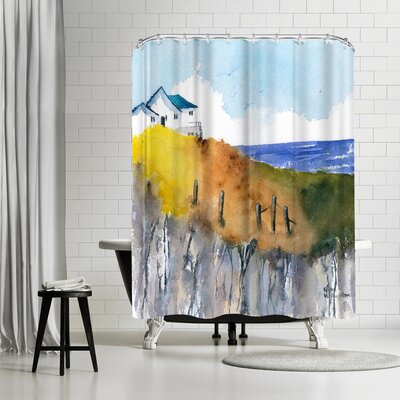 Rachel McNaughton Clifftop Cottage Shower Curtain