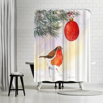 Rachel McNaughton Robin and Bauble Shower Curtain