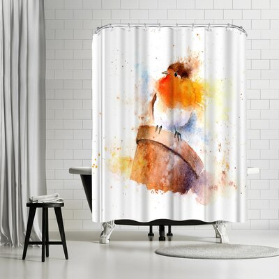Rachel McNaughton Splashy Robin on Plantpot Shower Curtain