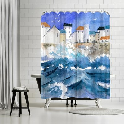 Rachel McNaughton Stormy Harbour Shower Curtain