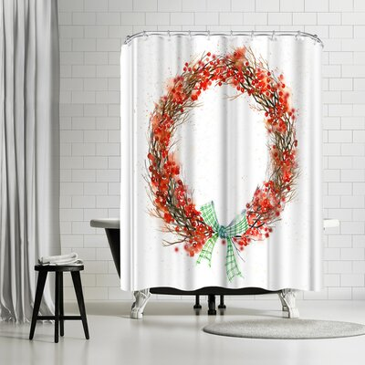 Rachel McNaughton Twig and Berry Wreath Shower Curtain