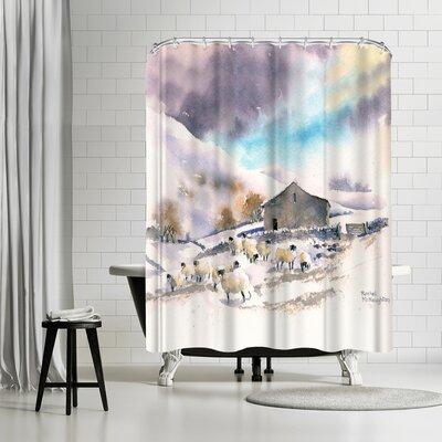 Rachel McNaughton Winter Sheep and Barn Shower Curtain