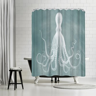 Adams Ale Mil Lenial White Octo Shower Curtain Color: Turquoise/White
