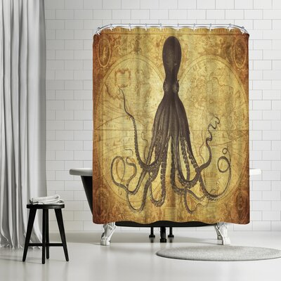 Adams Ale Gold Octo Map Shower Curtain Color: Olive Green/Venetian Red/Gray