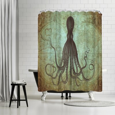 Adams Ale Gold Octo Map Shower Curtain Color: Light Blue/Gold/Charcoal Gray/Olive Green