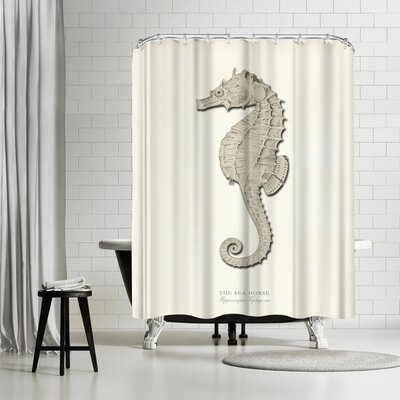 Adams Ale Greige Sea Horse Shower Curtain