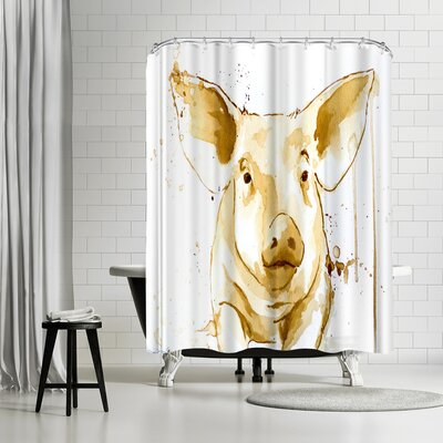Allison Gray Coffee Pig Shower Curtain