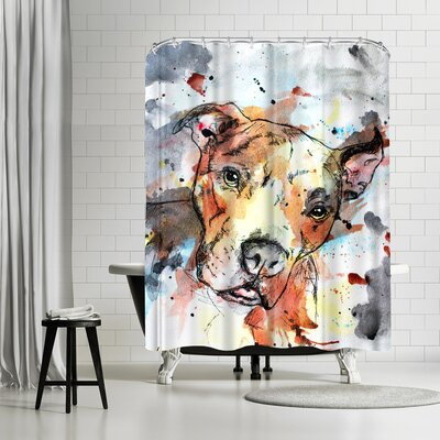 Allison Gray Colorful Dog Shower Curtain