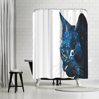 Allison Gray Cosmic Cat Silhouette Shower Curtain