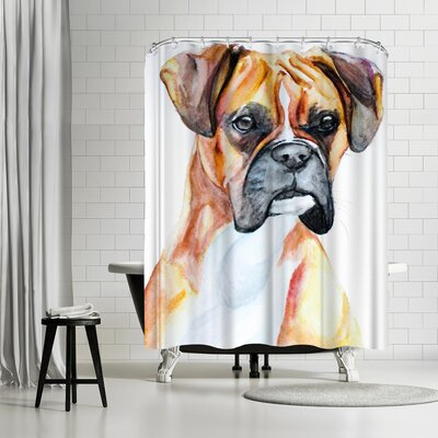Allison Gray Fawn Boxer Shower Curtain