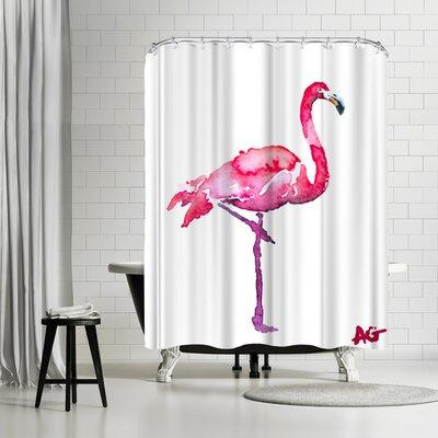 Allison Gray Flamingo Shower Curtain