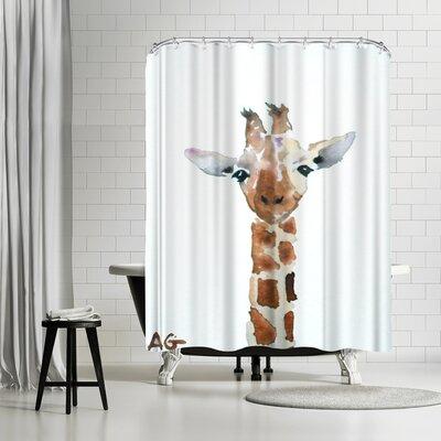 Allison Gray Giraffe Shower Curtain