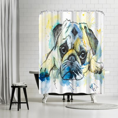 Allison Gray Pug Shower Curtain