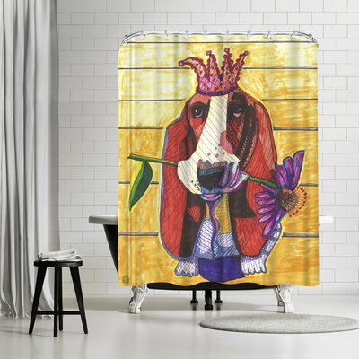 Solveig Studio Basset Hound with Flower Shower Curtain