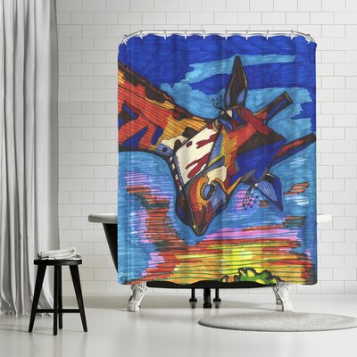Solveig Studio Blue Giraffe Jorge Shower Curtain