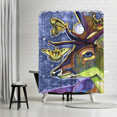 Solveig Studio Deer with Butterflies Shower Curtain