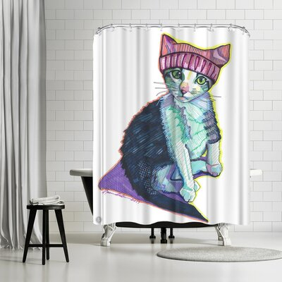 Solveig Studio Feminist Kitty Shower Curtain