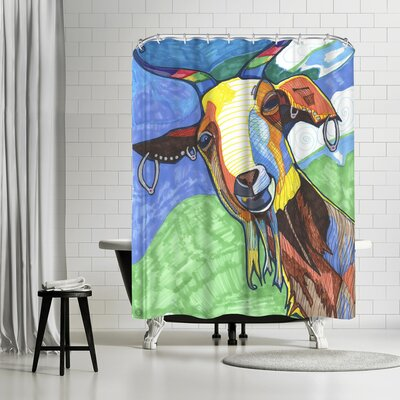 Solveig Studio Goat with Earings Dirks Shower Curtain