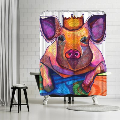 Solveig Studio Pig with Crown Shower Curtain