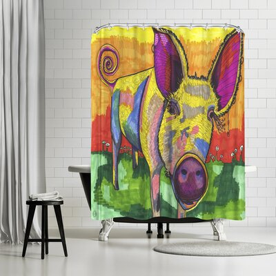 Solveig Studio Yellow Pig Shower Curtain