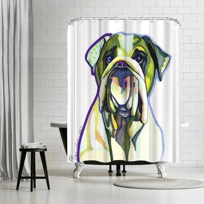Solveig Studio Dwayne Green Bulldog Shower Curtain