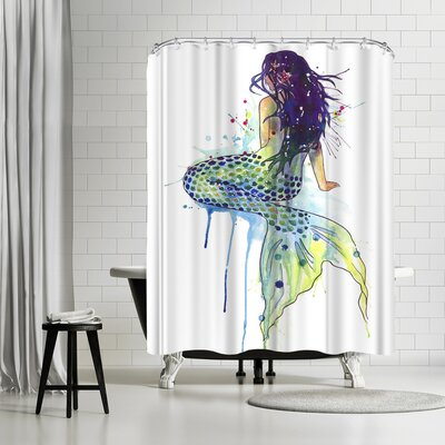 Solveig Studio Mermaid Shower Curtain Color: White/Eggplant/Light Blue/Lemon Yellow