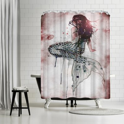 Solveig Studio Mermaid Shower Curtain Color: Blue/Gray/Silver/Charcoal