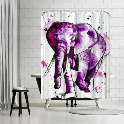 Allison Gray Elephant Shower Curtain