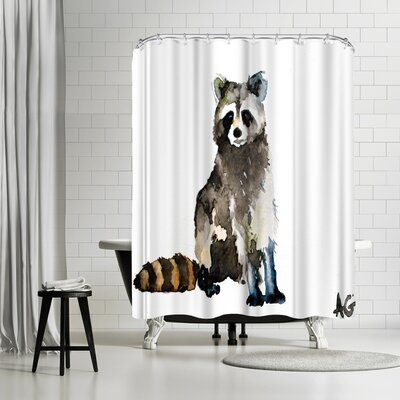 Allison Gray Raccoon Shower Curtain