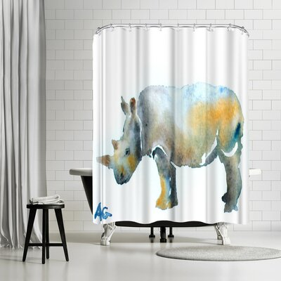 Allison Gray Rhinoceros Shower Curtain
