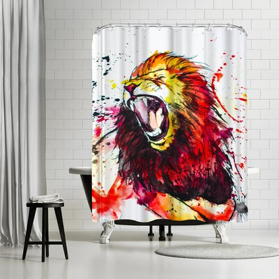 Allison Gray Roaring Lion Shower Curtain