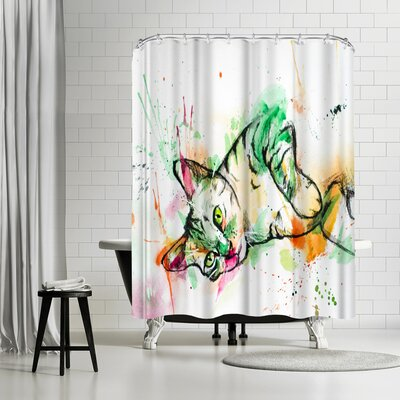 Allison Gray Tabby Cat Shower Curtain