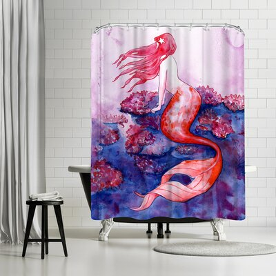 Solveig Studio Red Coral Mermaid Shower Curtain