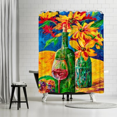 Sunshine Taylor Wine and Flowers Shower Curtain