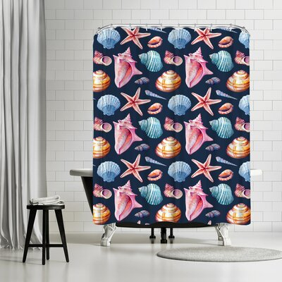 Sam Nagel Seashells Shower Curtain Color: Blue/Silver/Venetian-Red/Eggplant
