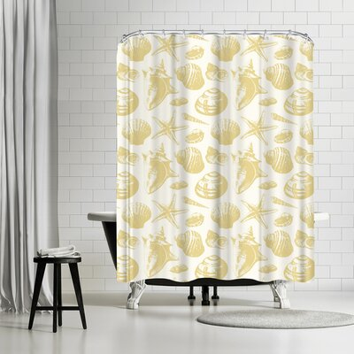 Sam Nagel Seashells Shower Curtain Color: White/Bananamania
