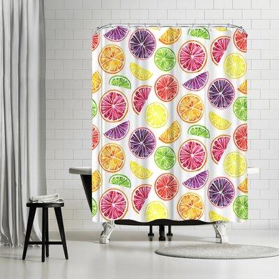 Sam Nagel Citrus Wheels Repeat Tile Colorful Shower Curtain