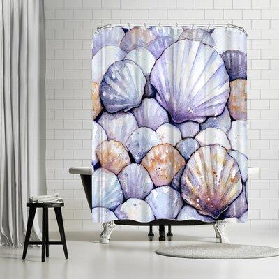Sam Nagel Scallop Shells Amethyst Shower Curtain Color: Blue/Silver/Eggplant
