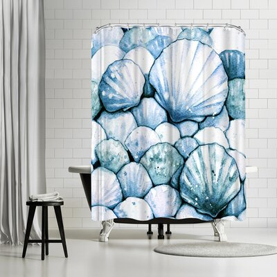 Sam Nagel Scallop Shells Amethyst Shower Curtain Color: White/Aqua-Marine/Navy-Blue