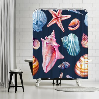 Sam Nagel Seashells Repeat Tile Shower Curtain Color: Blue/Red-Violet