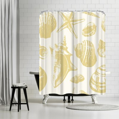 Sam Nagel Seashells Repeat Tile Shower Curtain Color: White/Banana Mania