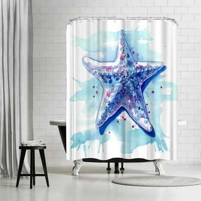 Sam Nagel Starfish Waters Shower Curtain Color: White/Aqua-Marine