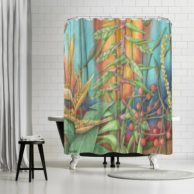 Three Mac Studio Jungle Shower Curtain Color: Gold/Olive-Green/Venetian-Red