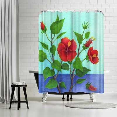 Three Mac Studio Hibiscus Shower Curtain