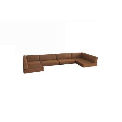 Rattan Box Cushion Sofa Slipcover Upholstery: Brown