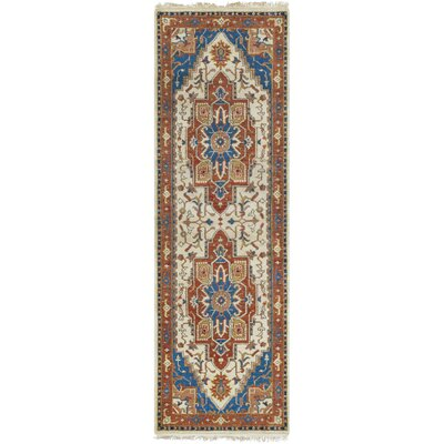 Langham Hand Knotted Wool Burnt Orange/Sky Blue Area Rug Rug Size: Runner 2 x 68