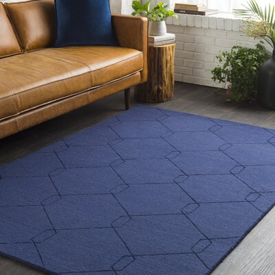Pinon Hand Woven Wool Blue Area Rug