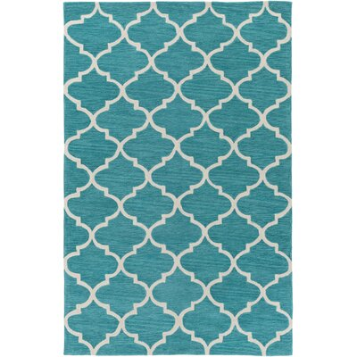 Goshen Hand Tufted Aqua/Ivory Area Rug Rug Size: Rectangle 33 x 53
