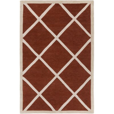 Goshen Hand Tufted Burnt Orange/Beige Area Rug Rug Size: Rectangle 2 x 3