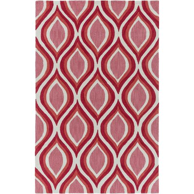 Oppenheimer Hand Tufted Rose/Coral Area Rug Rug Size: Rectangle 2 x 3